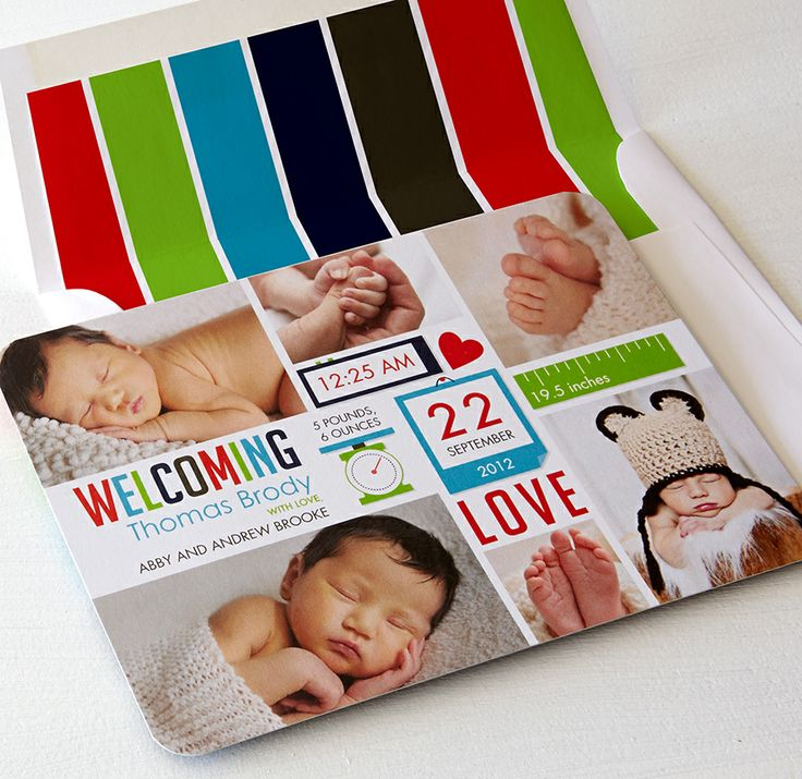 Announce your little love with precious details, like a stylish envelope liner.: Baby Boards, Photo Announcements, Baby Ideas, Create Photo, Photo Baby, Baby Photos