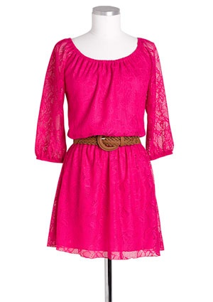 .: Cowgirl Boots, Pink Dresses, So Cute, Color, Cute Dresses, Pink Lace Dresses, Hot Pink, Cowboys Boots, Long Sleeve Lace