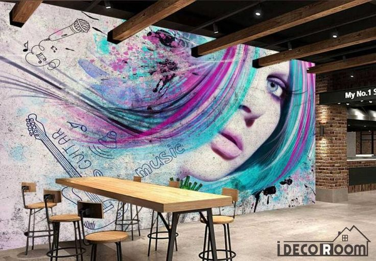 Graphic Design Woman Colorful Hair Restaurant Art Wall Murals Wallpaper Decals Prints Decor