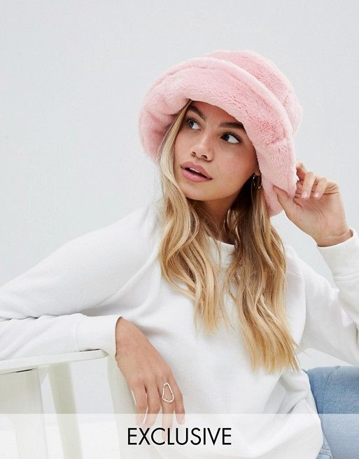 41e41f3421 My Accessories baby pink faux fur bucket hat