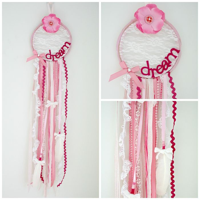 Pretty in pink and lace dream catcher