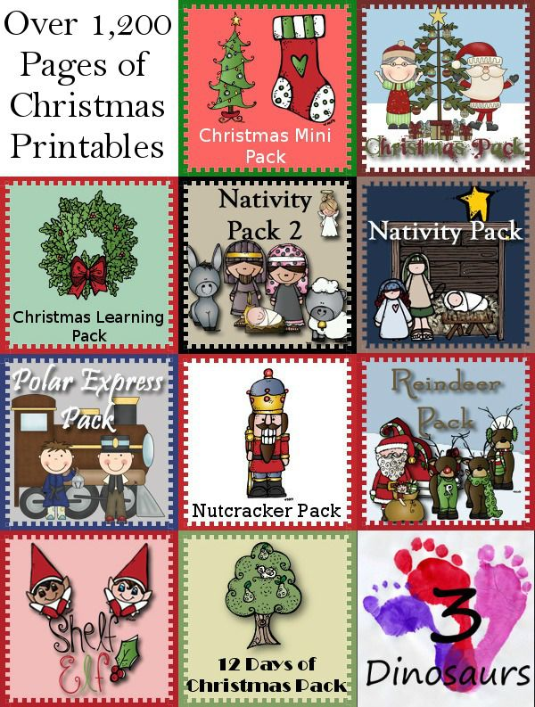 Round up of Christmas Printables - 10 Themed packs plus more - over 1,200 pages of printables from 3Dinosaurs.com
