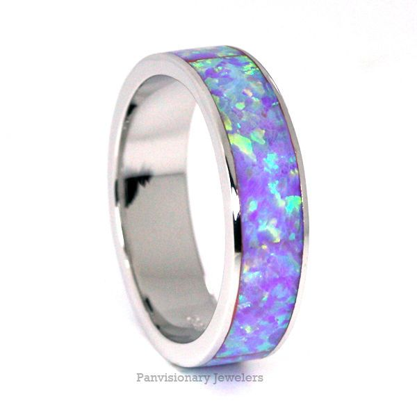 Stackable Purple Fire Opal 925 Sterling Silver Eternity Band Ring 5MM half sizes #Band