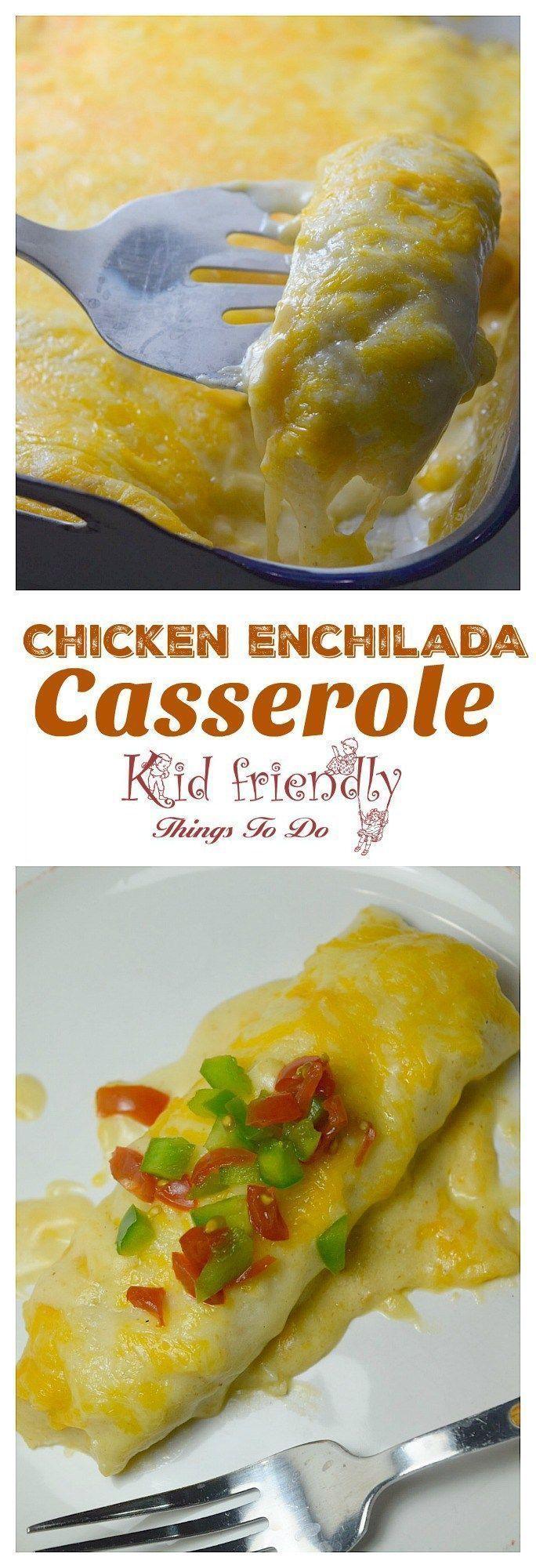 Chicken Enchilada Casserole with Sour Cream sauce - http://www.kidfriendlythingstodo.com