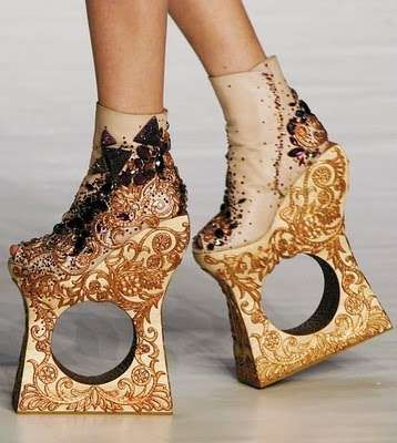 #Shoes Holey Wedged Heels - Guo Peis Sky-High Heels are Geometric Masterpieces