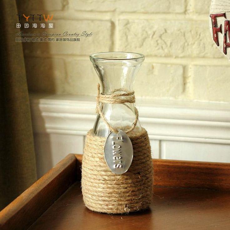 Spedizione gratuita in corda di canapa artigianato decorativi fiori di vetro vaso in vaso centrotavola decorazione da tavola senza fiori