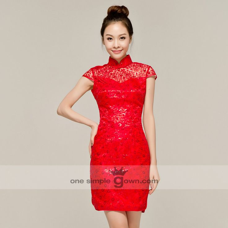 Skinny Lace Sequins Collar Cheong Sam