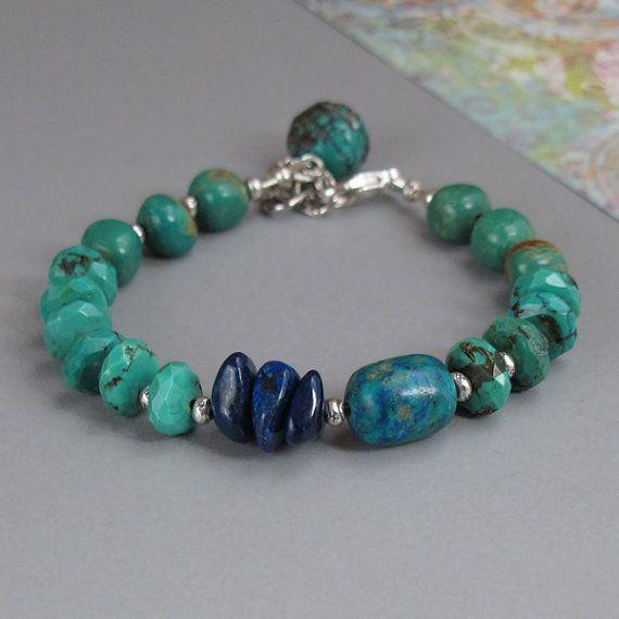 Turquoise Chrysocolla Lapis Gemstone Sterling Silver Bead Bracelet
