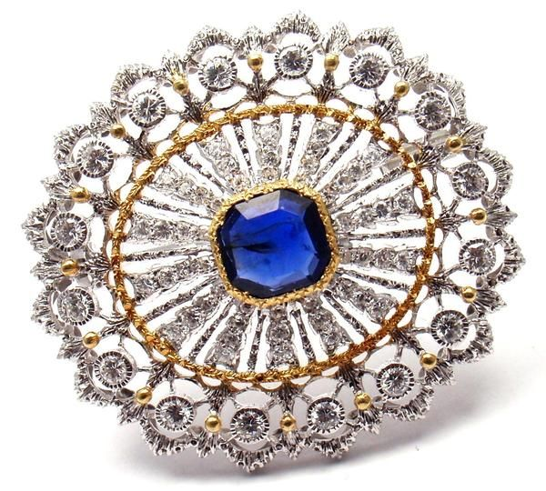 Authentic! Buccellati 18k Yellow & White Gold 68 Diamonds Sapphire Brooch Pin - Fortrove