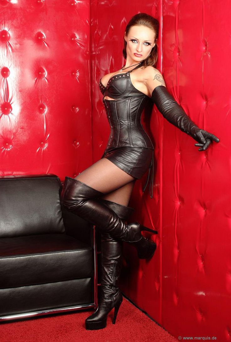 Boot high leather lingerie thigh woman