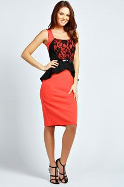 Candice Lace Detail Peplum Midi Dress at boohoo.com