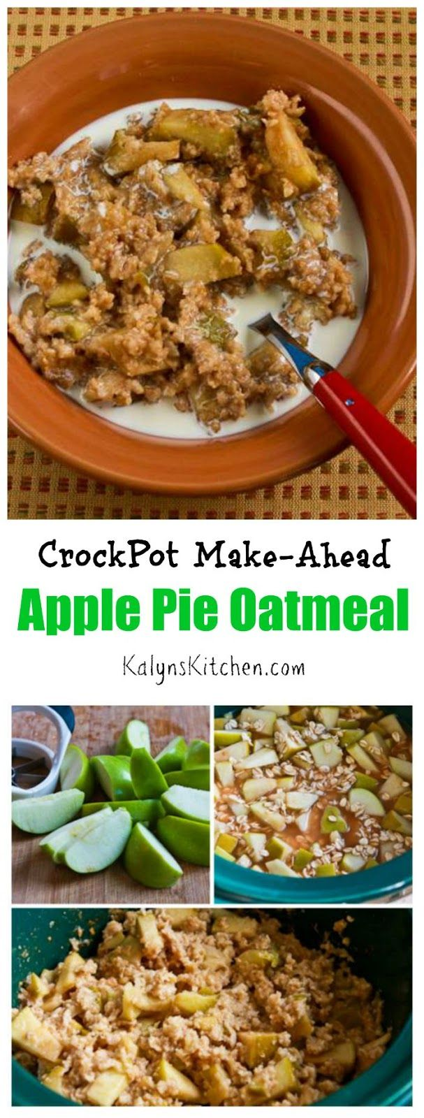 Easy and delicious CrockPot Make-Ahead Apple Pie Oatmeal has all the flavors of apple pie in oatmeal that you make at night and re-heat in the microwave or in a pan. If you like apple pie, you'll love these flavors in oatmeal. [from KalynsKitchen.com]
