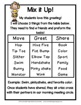 During morning meeting it is great to get your students up and moving.  Mixing up their greetings is an easy way to do this!