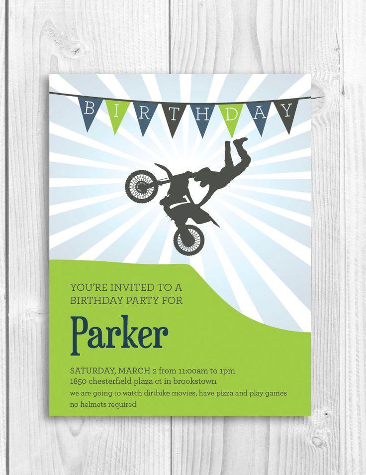 motosport templates - printable birthday party invitation dirtbike by