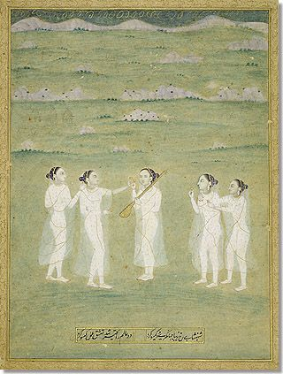 Yoginis in a Landscape India, Mughal period, late 17th c. five yoginis, or female ascetics, wearing fine gold-edged muslin and adorned with gold ornaments, hold aloft tiny golden cups of wine while the yogini in the center also holds a stringed musical instrument. Although the artist has depicted the humble possessions of ascetics in precious materials, the yoginis' wine cups, stringed instrument, and lightly draped shawls refer to yogic practice.