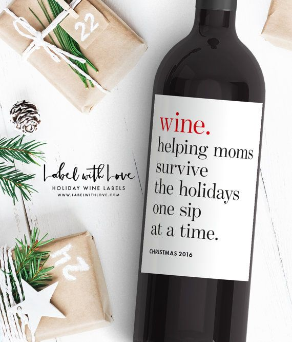 Funny Christmas Gift Wine Labels  Weve got the perfect set of holiday wine labels for all your mommy friends. Give them a give they are sure to love (and need)!   ♥ LABEL DESIGN ▬▬▬▬▬▬▬▬▬ Includes 1 of each label:  1: Pairs well with Christmas break (and difficult relatives) 2: Mommys little helper (cheers to a happy holidays) 3: Wine. Helping moms survive the holidays one sip at a time (Christmas 2016) 4: My children are on the naughty list. (wine. because kids.)*  *Label 4 is also…