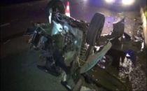 BERGAMA- Feci Kaza!..Otomobil ikiye bölündü 1 kişi yaralı