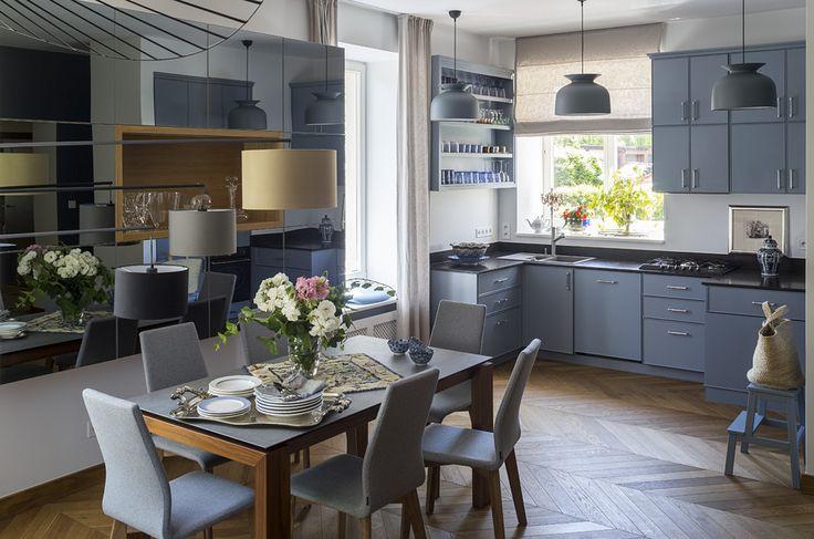 blue kitchen gubi lamps
