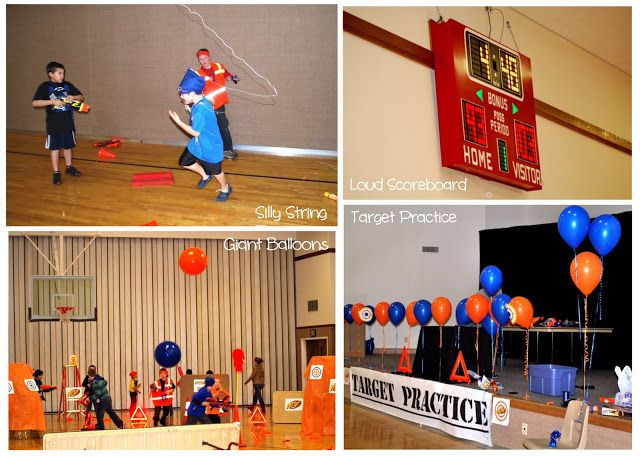 giant balloons and balloon target practice area from Nerf Gun Birthday Party