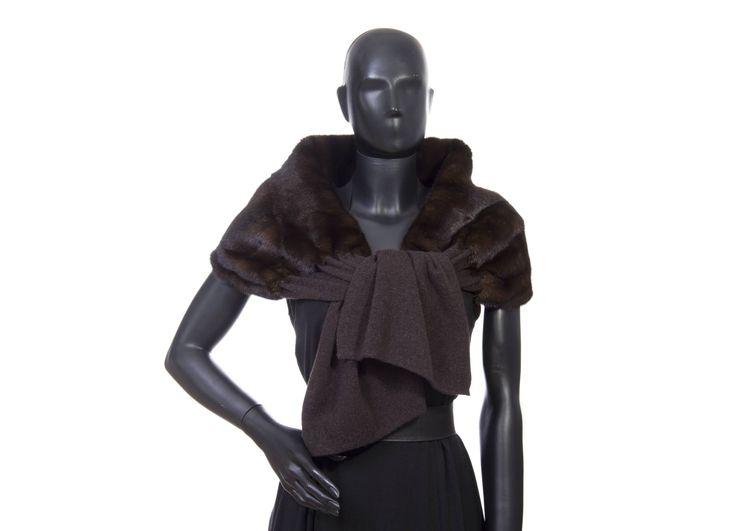 Stola cashmere marrone visone demibuff  cashmnere 100% misura cm. 35 x 170