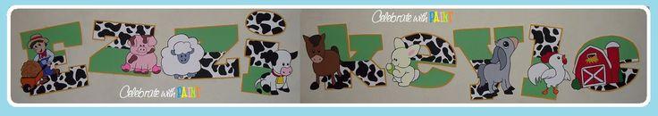 Down on the Farm individual letters in John Deere green & cow print! Cow, pig, horse, farmer, goat, sheep, barn