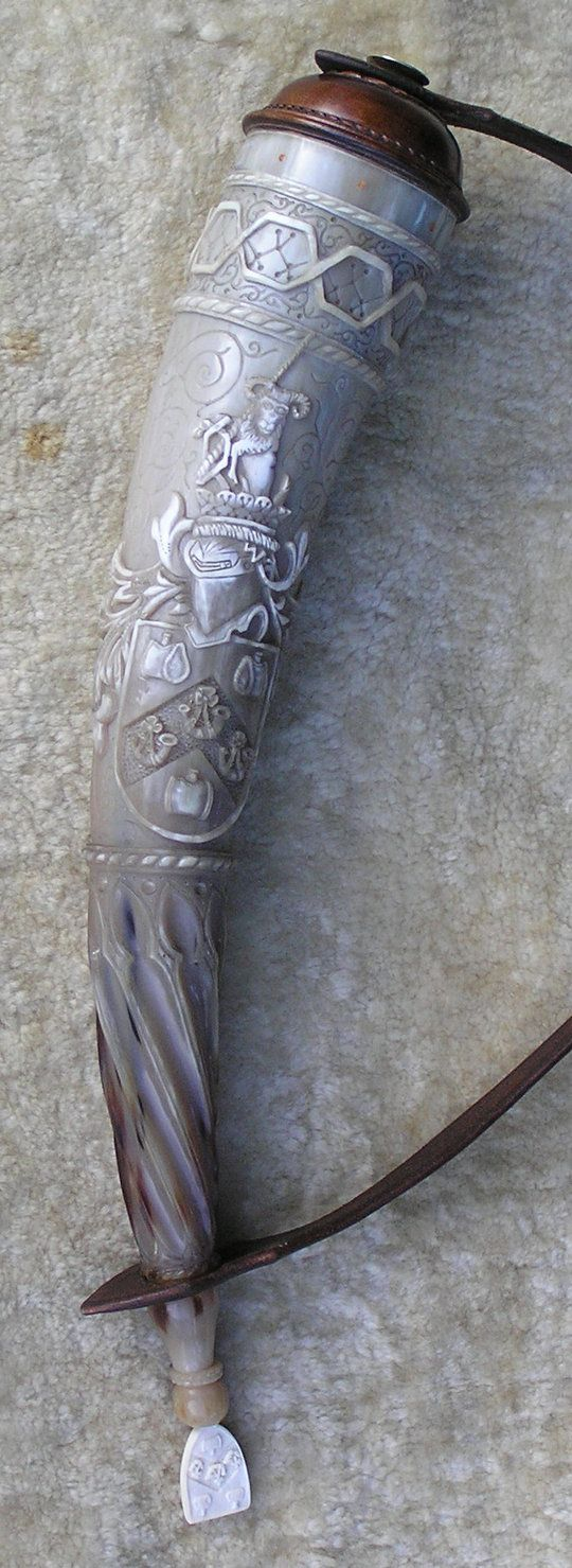 The Beall Powder Horn - Gift to the guildmaster of the Worshipful Company of Horners - carved cow horn