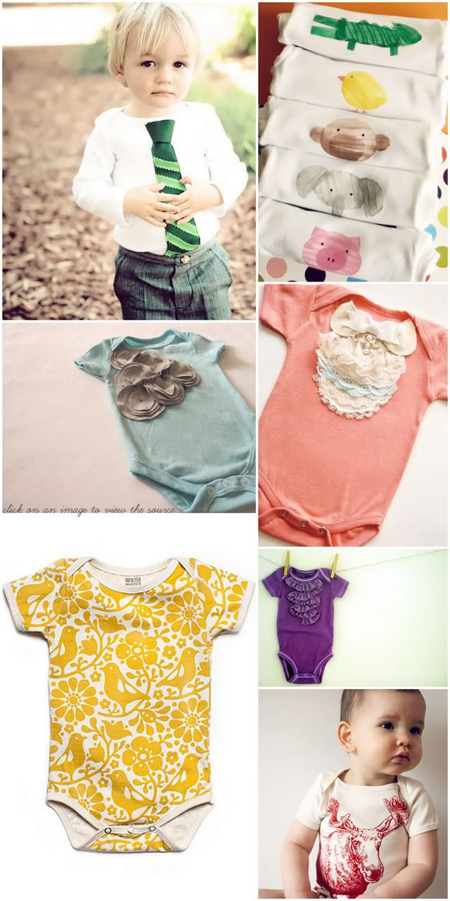 DIY onesies...for all the babies in my life: Diy Girls Onesie, Diy Onesies, Gifts Ideas, Baby Gifts, Diy Baby, Diy Onsi, Baby Shower Gifts, Baby Clothing, Onesie Ideas