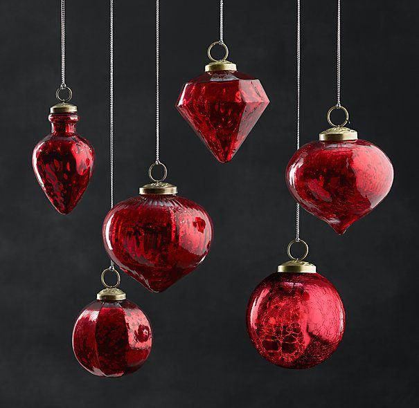 Vintage Handblown Glass Ornament Collection - Red http