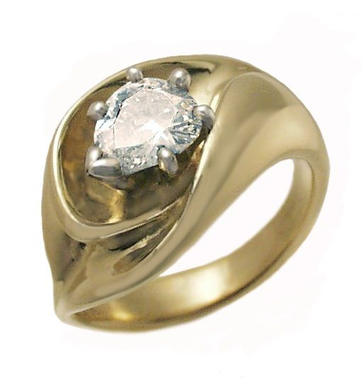 18k yellow gold ring with pear shape diamond by Hanna Cook-Wallace.