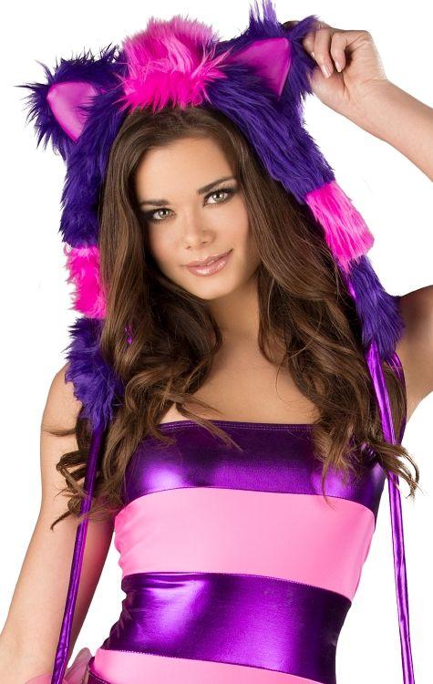 J Valentine CS123 Cheshire Cat Pink & Purple Faux Fur Animal Hood Plush Rave EDC Gogo Dancer Ravewear Halloween Costume FREE SHIPPING