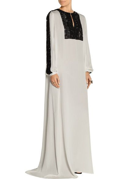 White silk-chiffon, black lace Hook-fastening keyhole at front 100% silk Spot clean