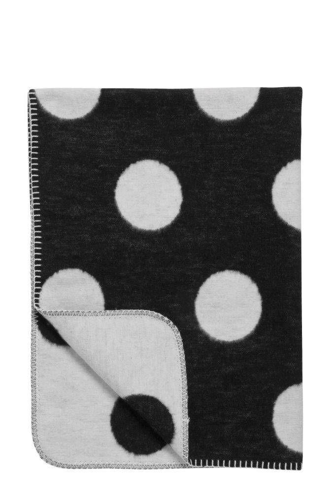 Meyco zwart met witte stippen ledikantdekentje Big Dot eco 120 x 150 cm - Ikbenzomooi.nl