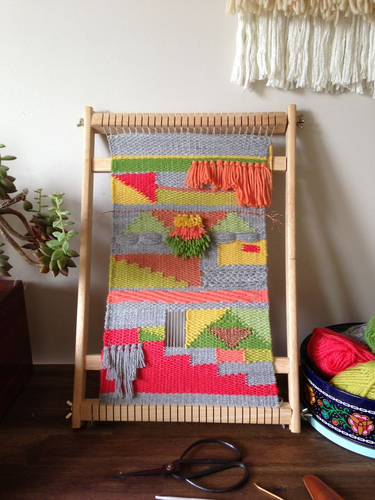 Woven tapestry on the loom by Maryanne Moodie.