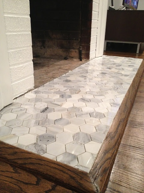 Hearth Re-Tile - Laying Tile.