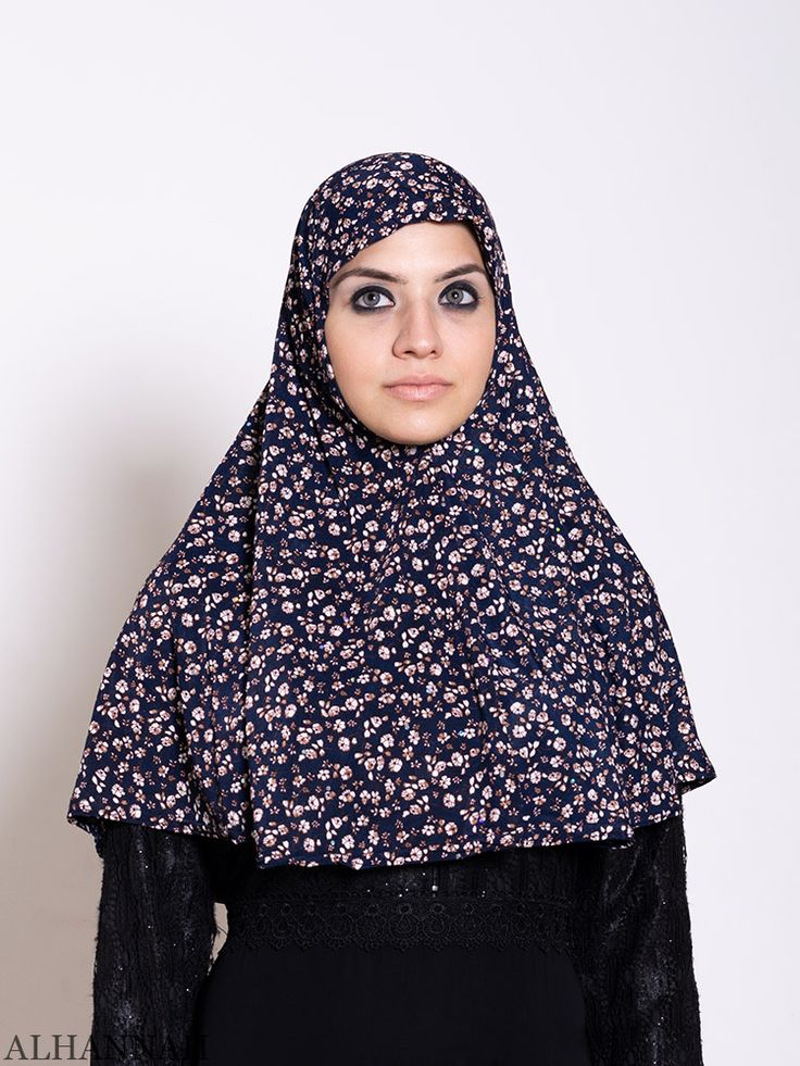 Navy Calico Amira Hijab HI2207 (With images) Amira