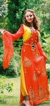 This is a traditional kurdish dress that many women wear in Kurdistan. :)