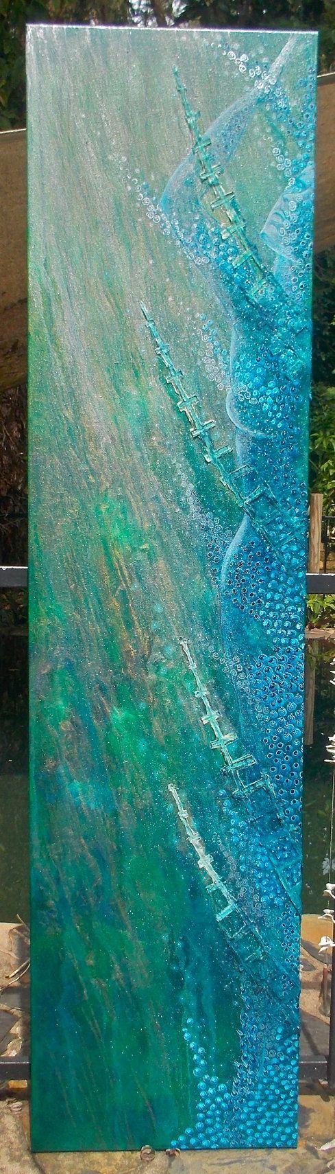 Painting Oil on Canvas with Silk Cutwork Reef Nebula by StephanieJMilne http://www.stephaniejmilne.com