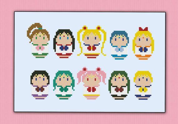 Sailor Moon parody  Cross stitch PDF patterb por cloudsfactory
