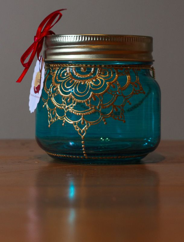 Mason Jar Lantern. Gold Henna Detail. Handpainted. Candle holder. Desktop Organizer