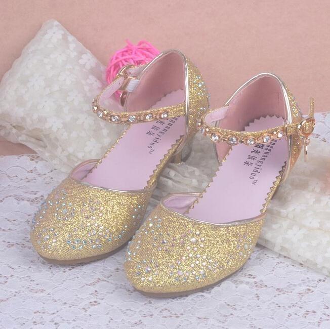 2016 kinder Prinzessin Sandalen Kinder Mädchen Hochzeit Schuhe High Heels kleid Schuhe Partei Schuhe Für Mädchen Rosa Blau Gold dance schuhe //Price: $US $15.79 & FREE Shipping //     #abendkleider