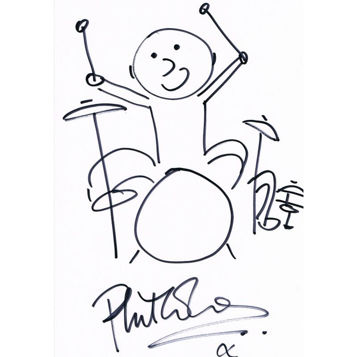 An autographed self caricature of Phil Collins playing the drums at PFC Auctions. Bidding open until May 24.