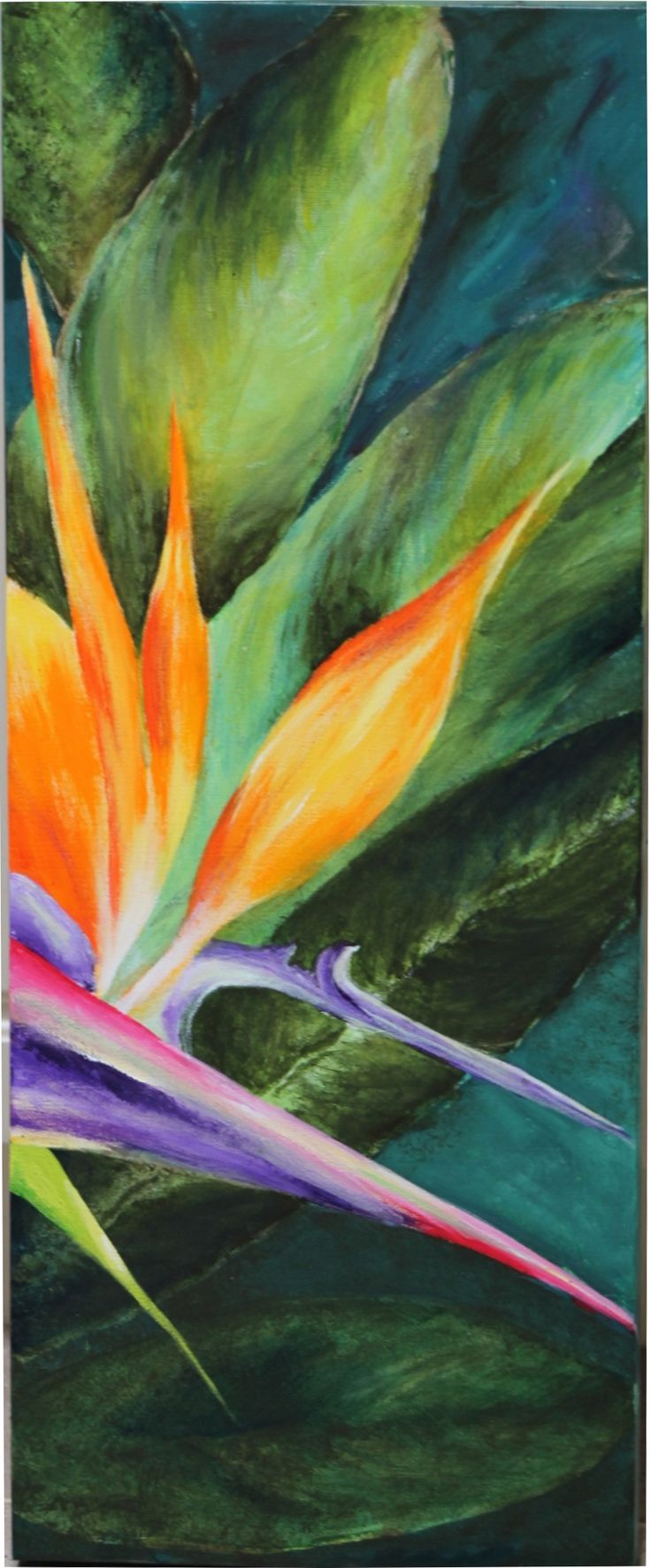 """ART PRINT ON CANVAS OR ART PAPER From Artist, Jill Harris, to you. Inspired by the amazing colorful """"Bird of Paradise"""" flowers - I painted this picture especially to brighten up my newly renovated guests room. It's all about the colors!"""