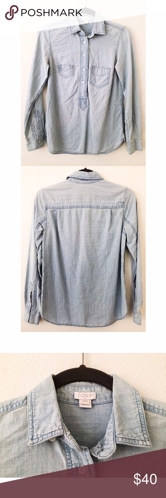 J Crew jean button down blouse J Crew button down jean blouse size XXS J Crew Tops Button Down Shirts