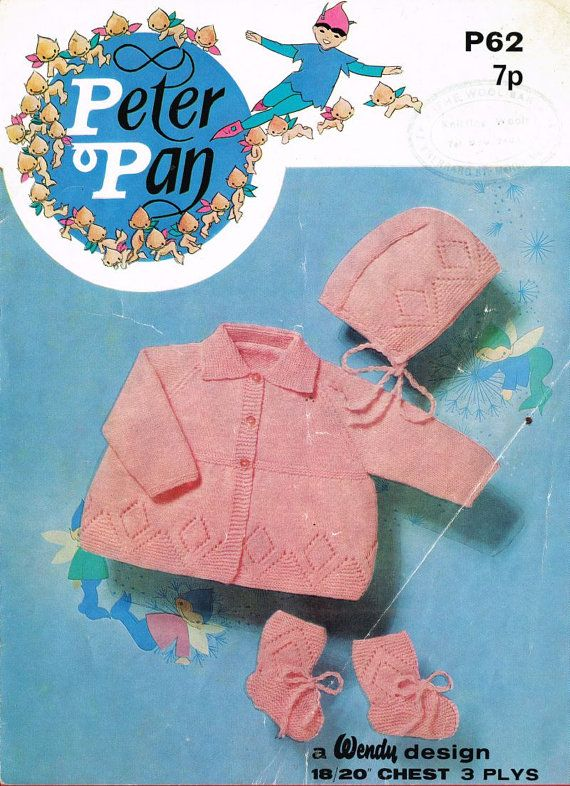 Peter Pan 62 baby matinee coat and bonnet set  by Ellisadine, £1.10