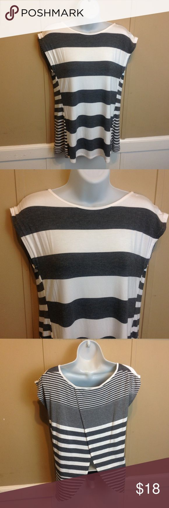 "BLUE Saks FIfth Avenue Striped Tee Maker: Saks Fifth Avenue ♥ Material: 95% Viscose 5% spandex ♥ Color: Navy and White Striped ♥ Measured Size: Pit to pit- 17"" Pit to cuff- n.a Shoulder to waist- 24""  ♥ Tag Size:  XS ♥ Actual Size: XS PLEASE CHECK YOUR ACTUAL MEASUREMENTS TO MAKE SURE IT IS THE RIGHT SIZE! THANKS! ♥ Condition: Great Used Condition ♥ Item #: (office use only) E  Follow us on Instagram and facebook for coupon codes!  INSTAGRAM-thehausofvintage1984 Saks Fifth Avenue Tops Tees…"