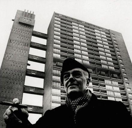 Ernö Goldfinger in front of Trellick Tower