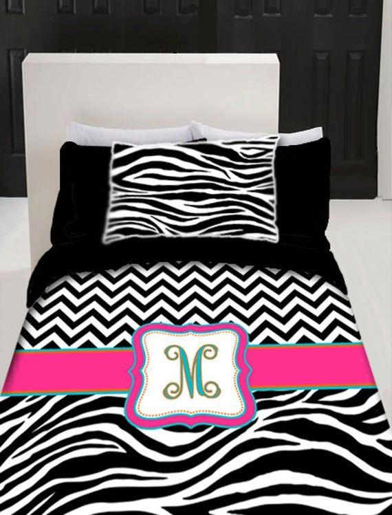Custom Personalized Chevron Zebra Duvet Cover Set Etsy Duvet Cover Sets Zebra Bedding Duvet