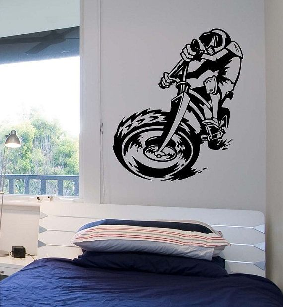 Dirt bike riding wall decal champion sticker art decor for Dirt bike bedroom ideas