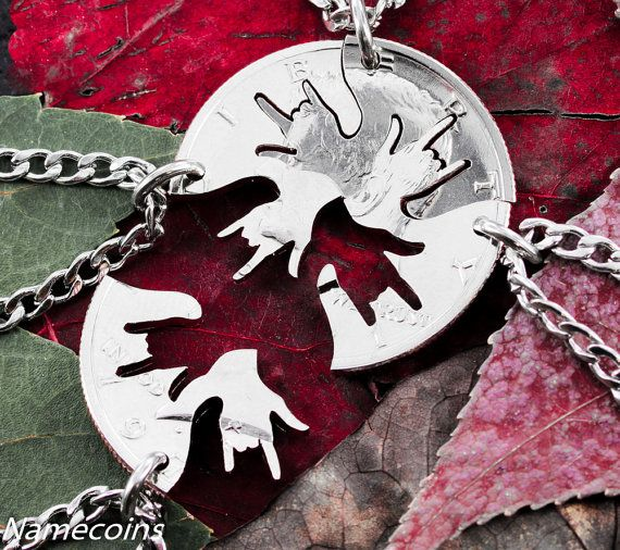 4 piece Best Friend Necklace I love you hands in ASL by NameCoins -- For the girls