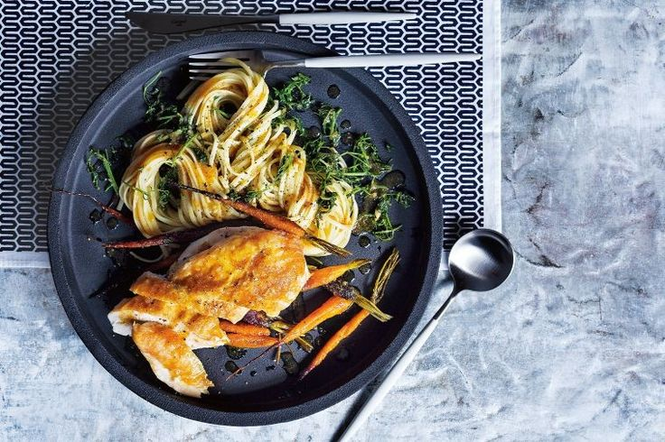 Sometimes the most simple recipes are the most delicious. Try this modern take on the roast chicken served with pasta, you won't be disappointed.